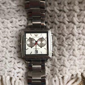 Emporio Armani Stainless Steel square wrist watch